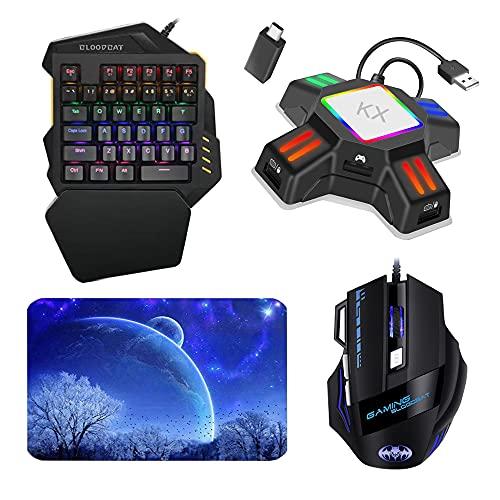 SOINK 片手キーボード マウス コンバーター マウスパッド4点セット switch キーボードマウス フォートナイトRGB ゲーミング キーボード スイッチに繋げる片手キーボードマウス 光学式 USB有線 FPS/TPS/RPG/RTSなどに最適 マウスパッド付き Switch/switch lite/PS4/PS3/Xbox One/対応