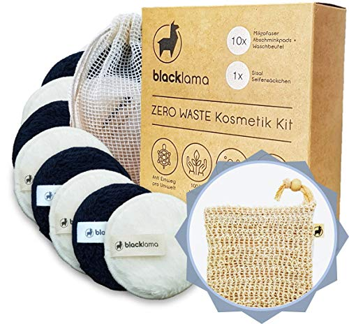 Designed in HAMBURG - [10x] Abschminkpads waschbar + GRATIS Sisal Seifensäckchen - Make Up Entferner Pads, Mikrofaser Abschminktücher, Wattepads wiederverwendbar