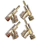 Fransande 4 piezas de audio Banana Plug Accesorios de cable de altavoz de 45 grados Tornillo de bloqueo de soldadura-oro