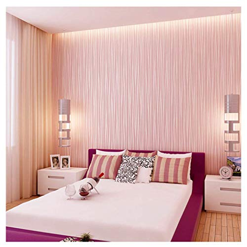 Blooming Wall:Non-woven Classic Plain Stripe Moonlight Forest Wallpaper,20.8 In32.8 Ft=57 Sq ft Per Roll,Princess Pink