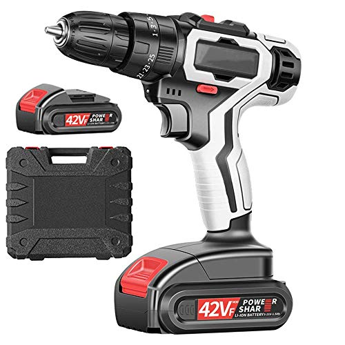 Beautiful happy Cordless Drill, Power Drill, 42V Electric Screwdriver Set,LED Light, Compact Li-Ion Battery, 25+3 Keyless Clutch, 2-Spee, Carry Box (Color : 2 Battery)