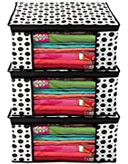Kuber Industries Polka Dots Design 3 Piece Non Woven Fabric Saree Cover/Clothes Organiser for Wardrobe Set with Transparent Window, Extra Large, (Black & White) - CTKTC038087