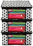 Kuber Industries Polka Dots Design 3 Piece Non Woven Fabric Saree Cover/ Clothes Organiser For Wardrobe Set with Transparent Window, Extra Large, (Black & White) - CTKTC038087
