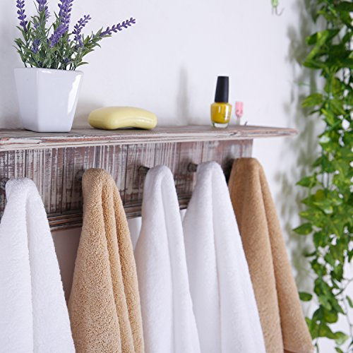 MyGift 5 Hook Rustic Wood Wall Mounted Floating Bathroom Shelf and Towel Rack