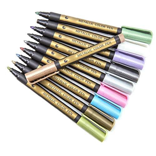 Packung Mit 10 Permanent Marker Pen Bunte wasserdichte Metall-Öl-Marker Füllen Geeignet Für Karten Schreiben Unterschrift Beschriftung Multicolor