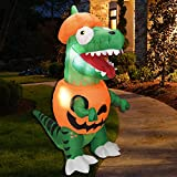 Joiedomi 6 ft Dinosaur Trick Or Treat Halloween Inflatable Yard Decoration with Build-in LEDs Inflatable for Halloween Party Indoor, Outdoor, Yard, Garden, Lawn Decorations