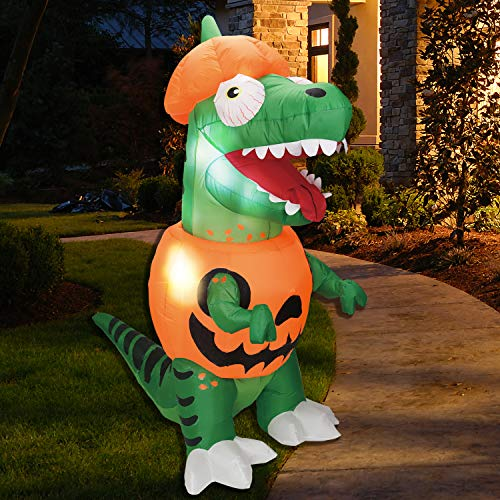 Joiedomi 6 ft Inflatable Dinosaur Trick Or Treat Halloween Inflatable Yard Decoration with Build-in LEDs Inflatable for Halloween Party Indoor, Outdoor, Yard, Garden, Lawn Decorations