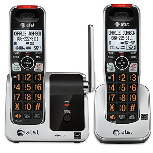AT&T CRL81212 DECT 6.0 Phone with Caller ID/Call Waiting, 2 Cordless Handsets, Black/Silver