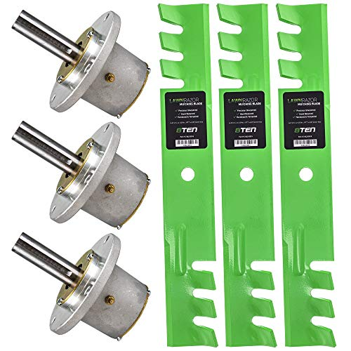 8TEN Spindle Toothed Blade Kit for John Deere 48 Inch Deck Commercial Walk Behind Mower AM122797