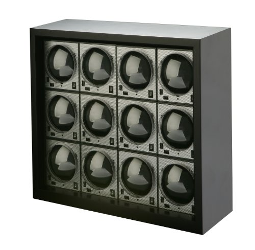 Big Sale Diplomat 31-403/12 Boxy Ultimate-12 Package Programmed Carbon Fiber Twelve Brick Stacked in Power Extend Station Housing Watch Winder