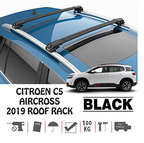 TURTLE Citroen C5 Aircross - Barra de Techo para Citroën, Color Negro