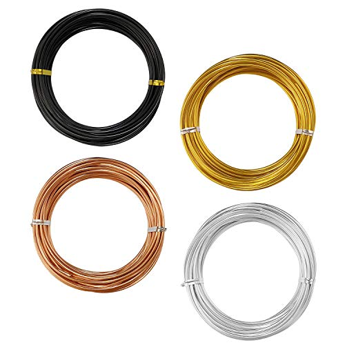 12 Gauge(2mm) Aluminum Craft Wire,Colored Wire for Jewelry and DIY Craft,4 Basic Colors(Each 32.8FT)