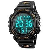 Timever(タイムエバー)デジタル腕時計 メンズ 防水腕時計 led watch スポーツウォッチ アラーム ストップウォッチ機能付き 50M防水時計 文字が大きくて見やすい (ゴールド)