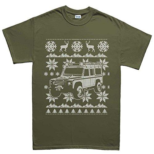 MensDefender4x4OffRoadUglyChistmasSweaterT Shirt(Tee) MGR2XL XXL Military Green