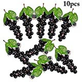 Uva Finta,Justdolife 10 Pcs Artificiale Uva Decorativa Frutta Finta Grappoli Uva Finta Dec...