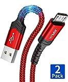 JSAUX Câble Micro USB [1+2 M/Lot de 2] Durable 3A Charge Rapide Câble Micro USB 2.0 Compatible avec téléphones intelligents Android, Samsung, Huawei, HTC, Sony, Nexus, Noia, PS4 et Plus.-Rouge