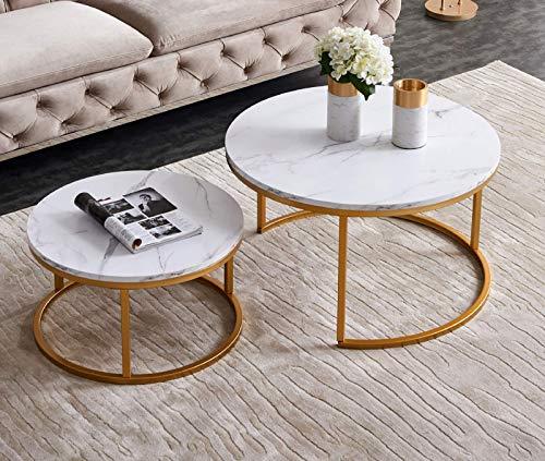 XHONG Runder Couchtisch 2er-Set Runde Beistelltische Moderne Couchtische Beistelltisch Metall Couchtisch Holz