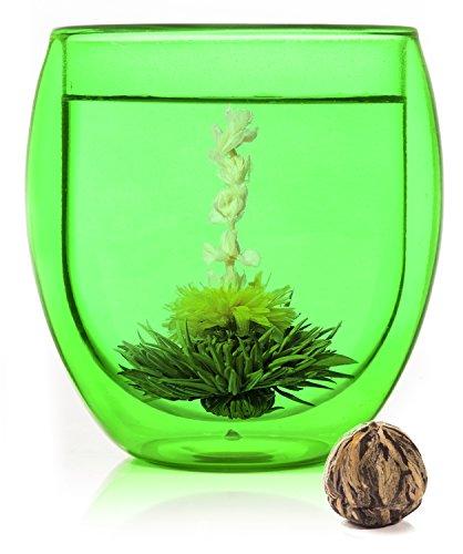 bedida 400ml Jumbo - grünes Thermoglas + Teeblume - 400ml grünes XXL doppelwandiges Kaffee- und Tee Thermoglas + TEEBLUME mit Schwebe-Effekt, Kaffeeglas/Teeglas inkl. Teeblume