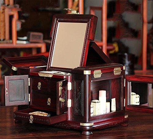 XYLUCKY Handmade Retro Redwood Top - Caja de joyería tallada de la flor Cajón de multi-celosía más caja de joyería de terciopelo Espejo Banda Regalos de boda