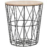SPRINGOS Mesa auxiliar con cesta de alambre con tapa, mesa de centro Ajour, cesta para periódicos (negro natural, 40 x 35 x 35 cm)
