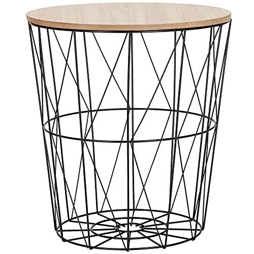 SPRINGOS cesta de alambre con tapa, mesa auxiliar redonda, medidas: 40 x 35 cm (alto x ancho),mesa de alambre, loft (negro-natural, 40 x 35 x 35 cm)