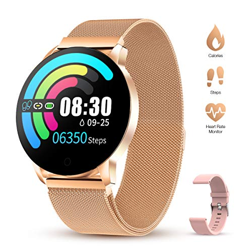 Smartwatch Donna Cinturino in metallo Ciclo fisiologico femminile IP67 Impermeabile Cardiofrequenzimetro Contapassi Calorie da Polso Orologio Fitness Activity Tracke compatibile Android e ios