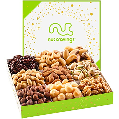 Gourmet Nut Gift Basket in White Box (9 Piece Assortment) - Prime Arrangement Platter, Birthday Care Package Variety, Healthy Food Kosher Snack Tray for Families, Women, Men, Adults