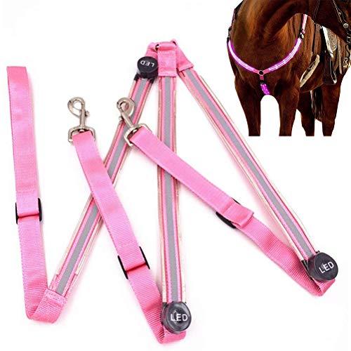 LED Pferdegeschirr, LED Pferde Brustgurt Horse Breastplate Collar Hohe Sichtbarkeit, Pferde Brustgurt für Dunkle Umgebung Outdoor Und Pferdesport