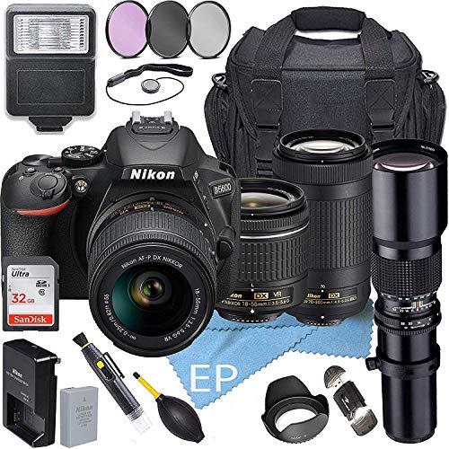 Nikon D5600 W/AF-P DX NIKKOR 18-55mm f/3.5-5.6G VR + Nikon AF-P DX NIKKOR 70-300mm f/4.5-6.3G ED Lens + 500mm Telephoto Zoom Lens + Accessory Bundle (21pc Bundle)