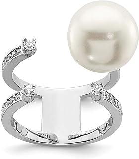 Plata de Ley rodio plateado simulado perla y Cubic Zirconia Anillo Ajustable