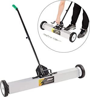 ROVSUN 36-Inch Rolling Magnetic Pick-Up Sweeper | 30-LBS Capacity, with Quick Release Latch & Adjustable Long Handle, for Nails Needles Screws Collection