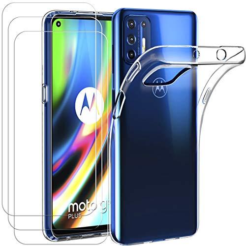 ivoler Hülle für Motorola Moto G9 Plus, mit 3 Stück Panzerglas Schutzfolie, Dünne Weiche TPU Silikon Transparent Stoßfest Schutzhülle Durchsichtige Handyhülle Kratzfest Hülle