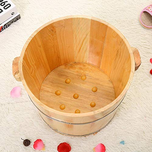 Great Deal! LSLMCS 30CM Solid Wood Household Foot Bath Barrel Health Care Bubble Foot Bucket Barrel ...