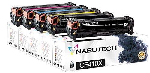 5 Nabutech toner als vervanging voor HP CF410X CF411X CF412X CF413X compatibel met HP Color LaserJet Pro M452nw, M452dn toner, Pro MFP M377dw, M477fnw toner, MFP M477fdn toner | getest volgens ISO-norm 19798 |