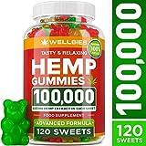 Hemp Gummies 100,000 - Premium Hemp Gummy Bears for Stress & Anxiety Relief - Made in USA - Hemp Extract Natural Calm Gummies - Efficient with Inflammation, Stress & Sleep Issues - Omega 3 Gummies