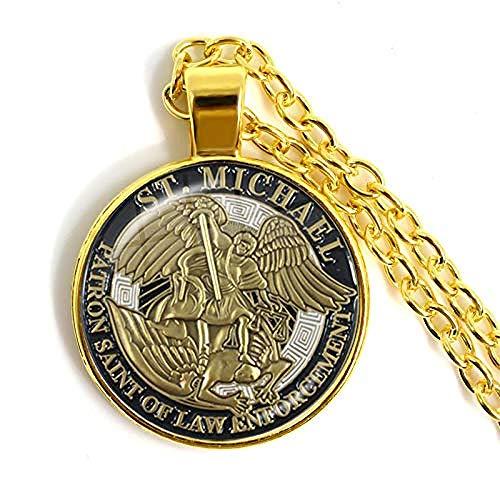 1 Uds 25Mm Collar de cabujón de Cristal Arcángel San Miguel me Protege Saint Shield Amuleto de protección Colgante ortodoxo Ruso joyería