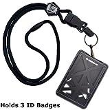Specialist ID Vertical Top Load Three Card Badge Holder - Hard Plastic with Heavy Duty Breakaway Lanyard w...