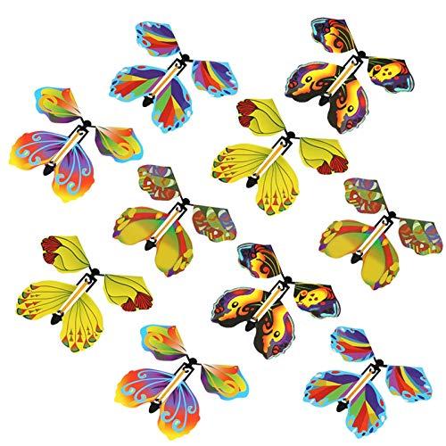 Fliegender Schmetterling Bunt Magie,Schwarzer Gummiband Magischer Schmetterling, Fliegender Schmetterling Verwandelt Sich In Schmetterling, New Seltsames Magisches Requisitenspielzeug(zufälliger Stil)