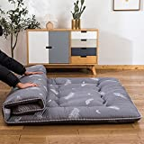 YOSHOOT 4 Inches Extra Thick Futon Floor Mattress for Adults, Japanese Thicken Futon Mattress Foldable Floor Bed Camping Mattress, with Canvas Storage Bag, Grey, Twin