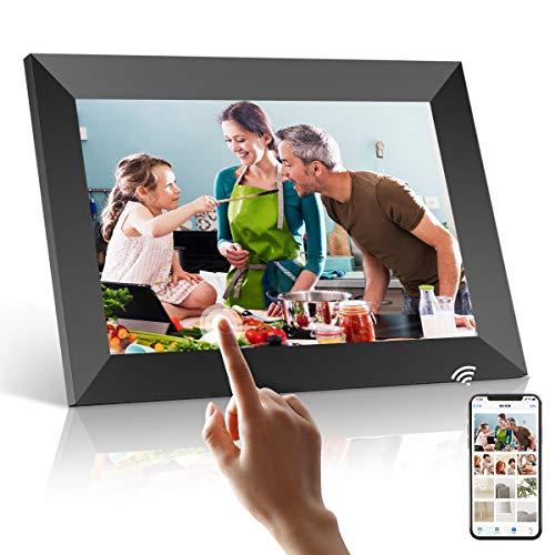 Marco Digital Fotos, PODOOR WiFi Marco de Foto Digital 10.1 Inch 1080P Full HD con Táctil Pantalla, Almacenamiento de 16 GB, Rotación Automática, Brillo Ajustable, Aplicación para iOS y Android