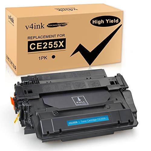 V4INK Compatible CE255X Toner Cartridge Replacement for HP 55X CE255X 55A CE255A High Yield Ink for HP Laserjet P3015 P3015dn P3015x HP Laserjet Enterprise Pro 500 MFP M525 M521 M521dn M521dw Printer