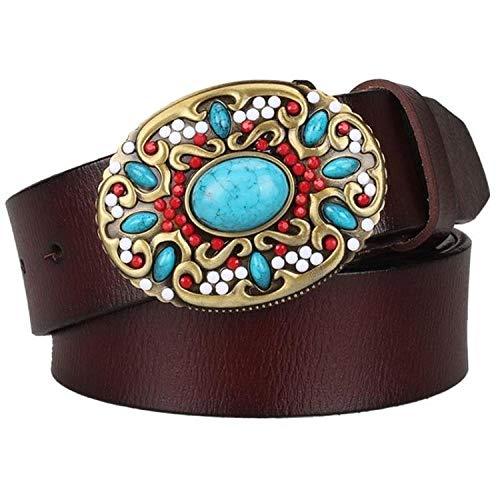 Cinturón Hombre Cinturón De Cuero Genuino Para Mujer, Mosaico, Gema, Cinturones Turquesa, Hebilla De Metal, Patrón Arabesco, Regalo De Cinturón Decorativo Para Mujer Retro, Como Se Muestra, 105