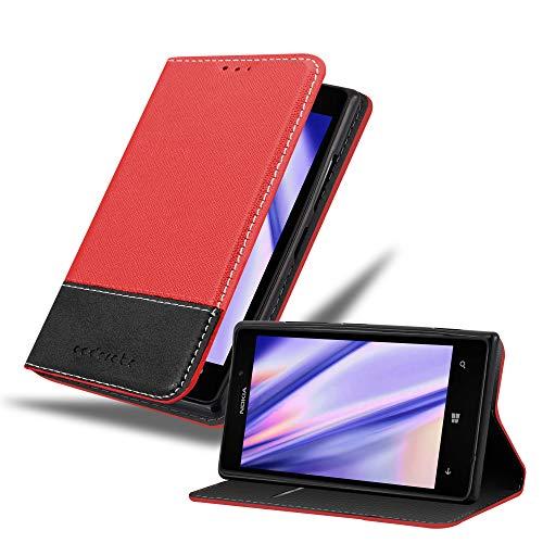 Cadorabo Hülle für Nokia Lumia 925 in ROT SCHWARZ – Handyhülle mit Magnetverschluss, Standfunktion und Kartenfach – Case Cover Schutzhülle Etui Tasche Book Klapp Style