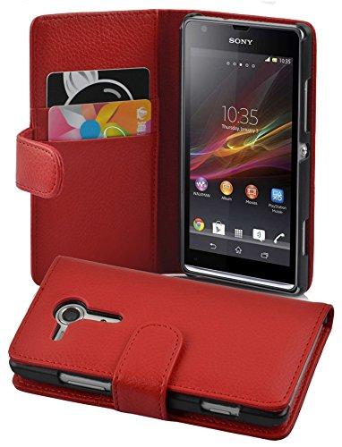 Cadorabo Custodia Libro per Sony Xperia SP in ROSSO CREMISI - con Vani di Carte e Funzione Stand di Similpelle Strutturata - Portafoglio Cover Case Wallet Book Etui Protezione