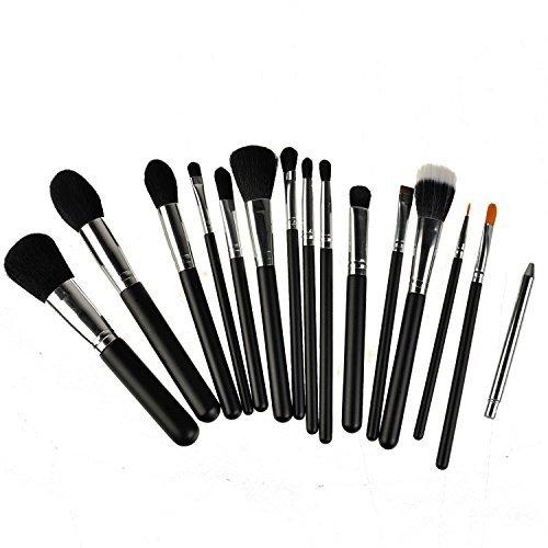 Kolight?15pcs Fashion Cosmetic Foundation Blending Blush Eyeliner Face Powder Makeup Brush Set (Black+Silver) by Kolight