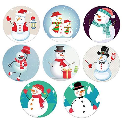 【EDEN】業務用 雪だるま スノーマン 8種類 クリスマス シール 3.8cm 約 500シール(約62シール×8種) Xmasシーズンのギフトラッピングに[E651]