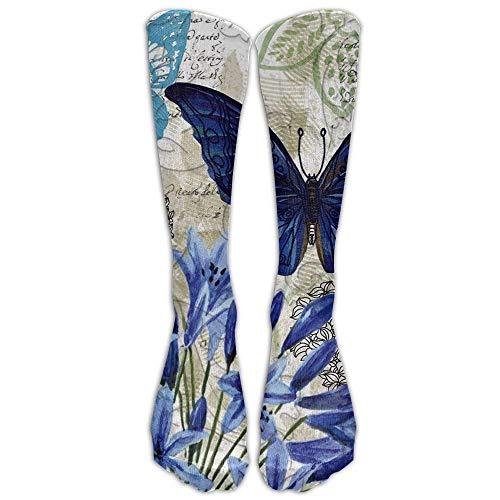 GHJL Lange Blaue Blumen-Socken für Damen, Winter, Vintage, Baumwolle, Wollstrick, Rundstrick, lang
