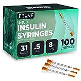 Prove Insulin Syringes 31 Gauge 5/16'' Single-use Insulin Syringe with Needle, 100 Count