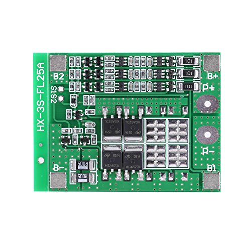 Akozon Battery Protection Board 3 Series 12V 15A Li-ion Lithium Battery 18650 Charger PCB BMS Protection Board(with Balance)