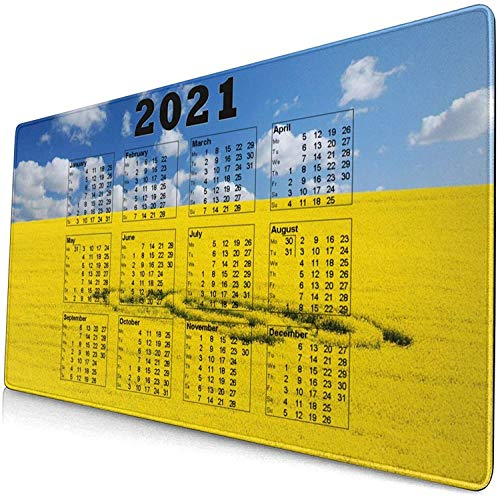Alfombrilla de ratón grande de 90 x 30 cm x 0,3 cm, para calendario, 2021, sin labios, cómoda base de goma para escritorio, PC y laptopolour4